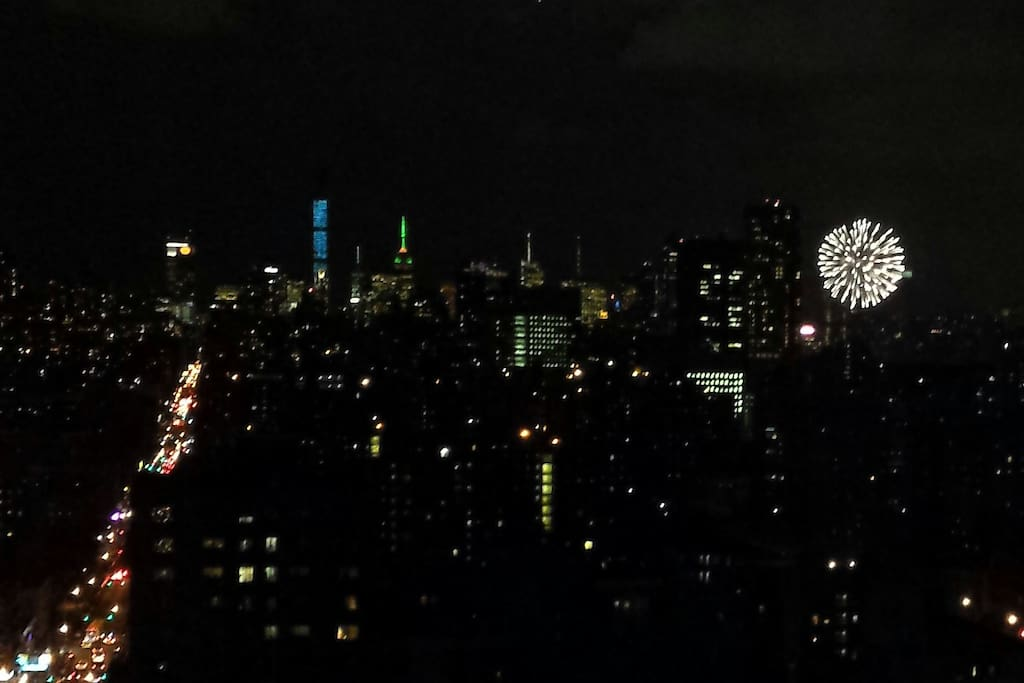 Living room and bedroom view during fireworks