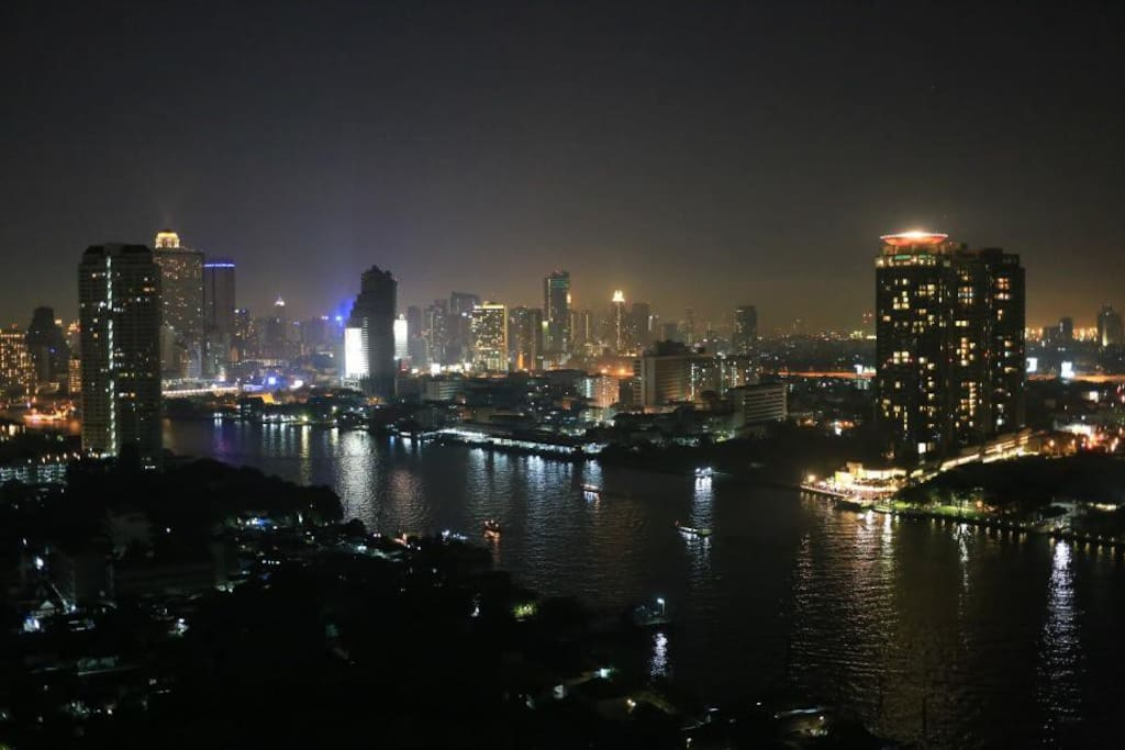 30th Floor, The Night River View from the room. Probably the most stunning view in Bangkok , especially for the new year firework countdown.