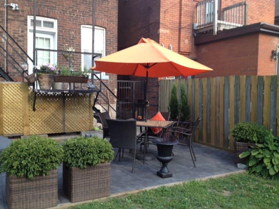 Rear patio and yard