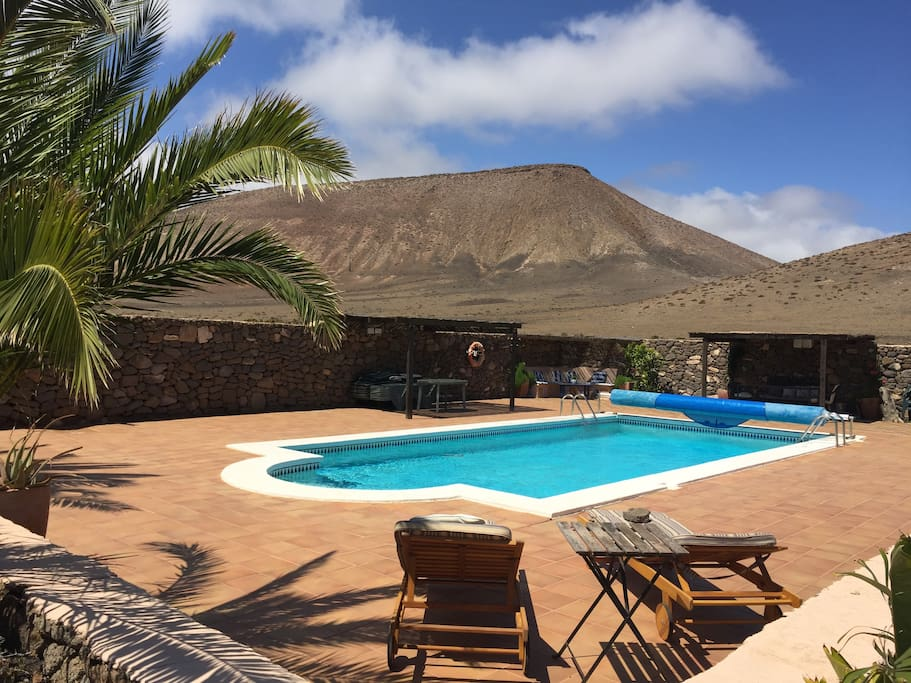 Pool and garden with wonderful views of Los Ajaches hills