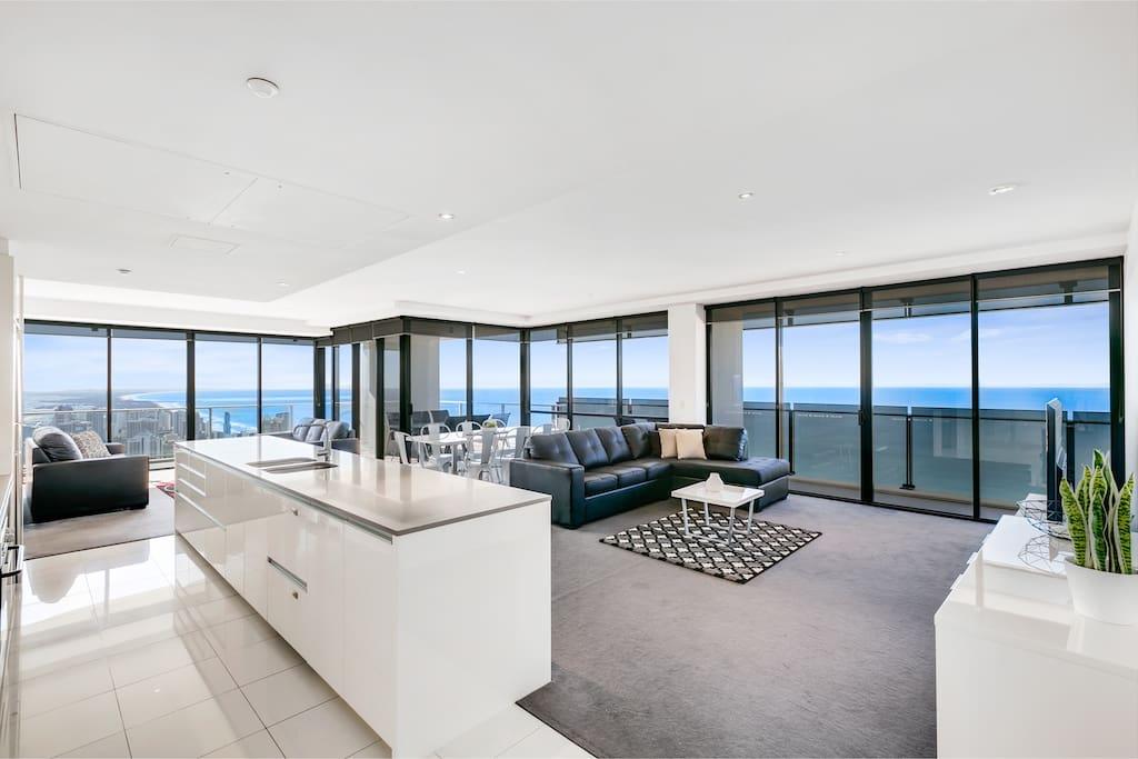 Open plan living with breath taking views
