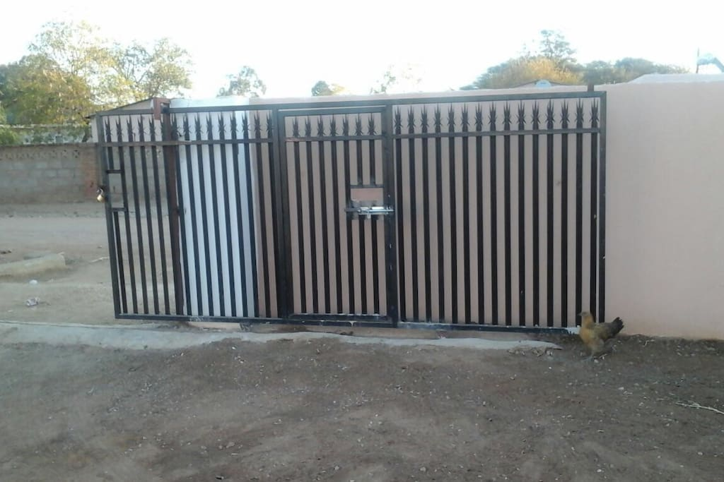 Private wall and gate.