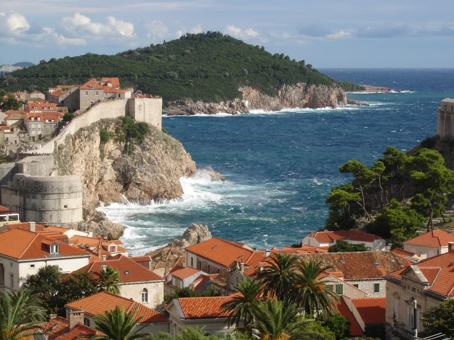 view at the city wall of Dubrovnik and the Island Lokrum