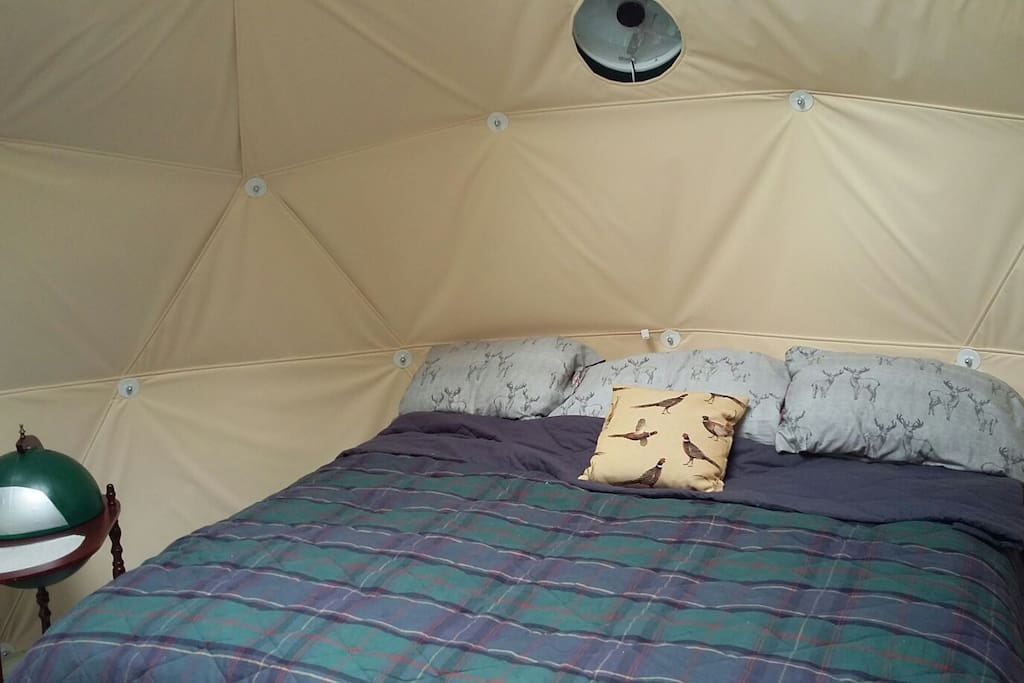 The Sleep Dome can either host a super king size bed, or two large singles, please let us know when booking which your would like.
