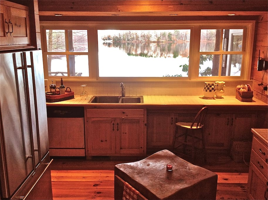 Kitchen and view of the lake