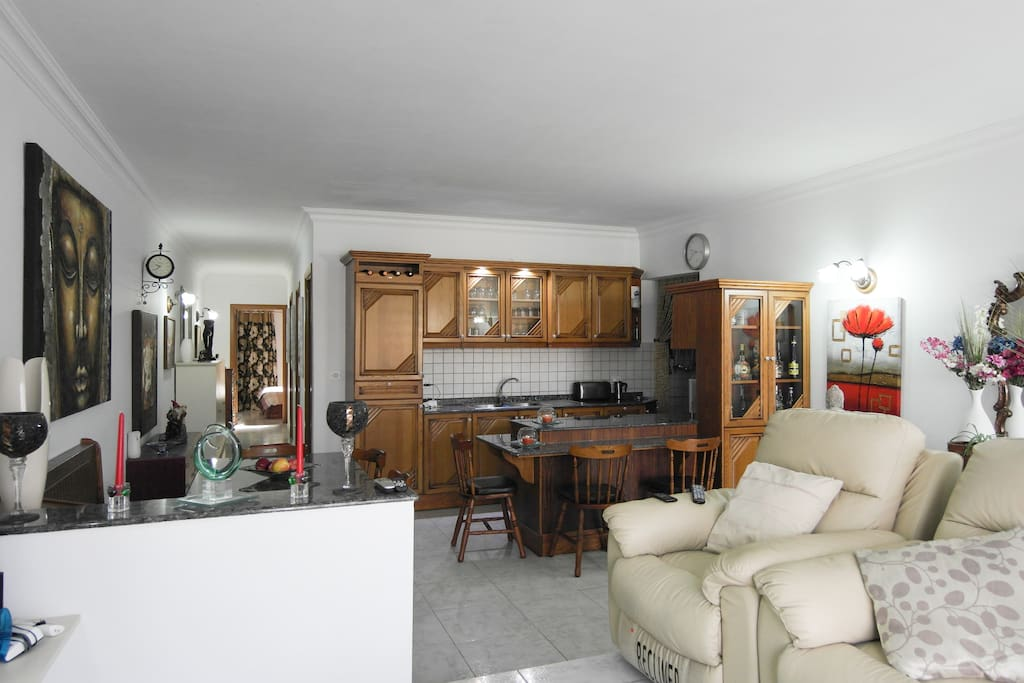 kitchen, living and dining area