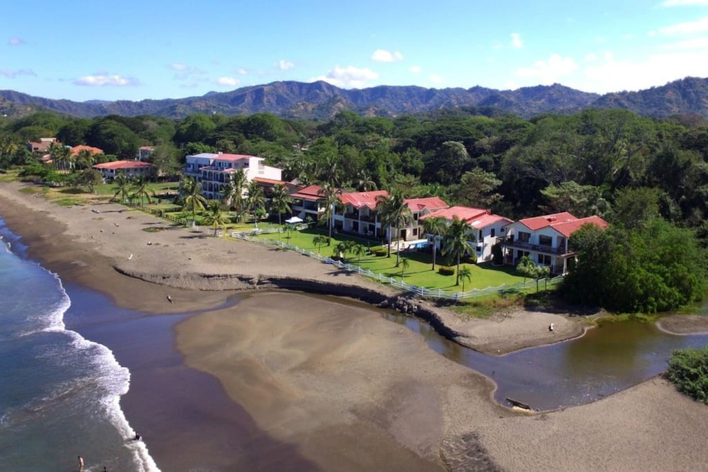 A aerial view of the our complex on the beach.