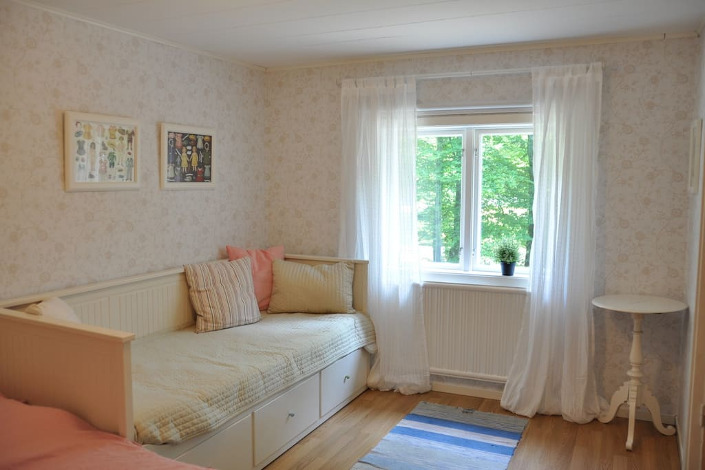 The master bedroom has both double bed and a sofa bed for two more persons