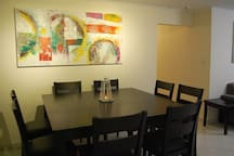 Dining area. Expandable table for a maximum of 8 persons.