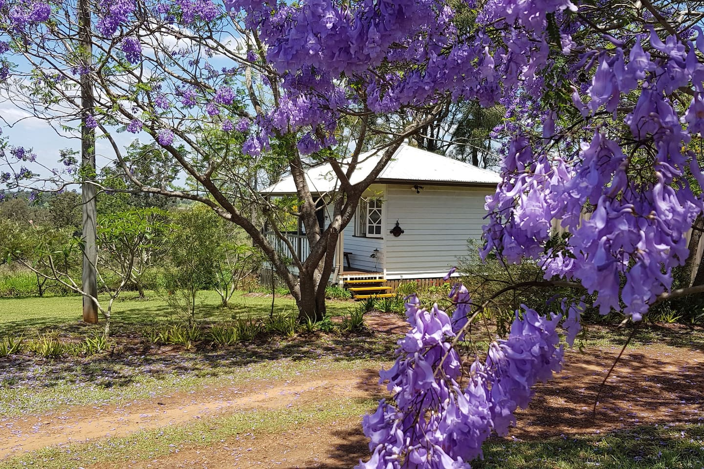 Outside Sawmill Cottage during Spring.