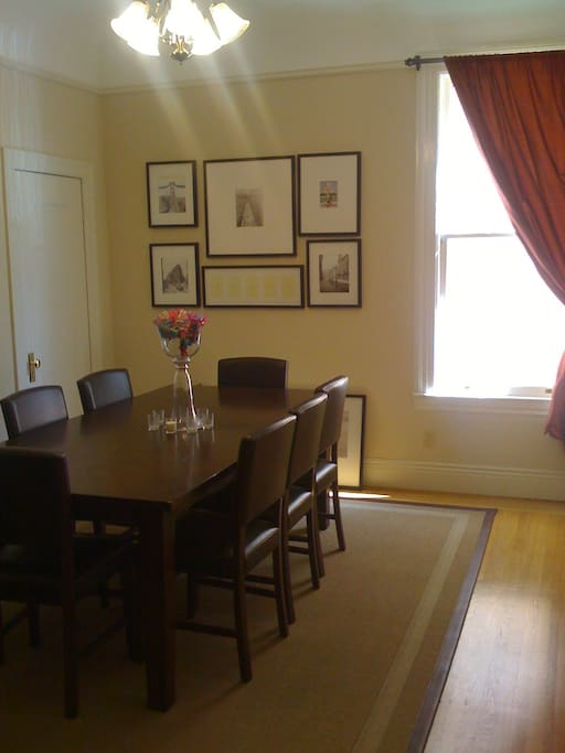 Gorgeous eight person dining table in a beautiful dining room!!!