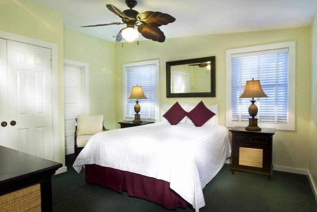 The Bedroom has a queen-sized bed, ceiling fan, closet, dressers, etc.