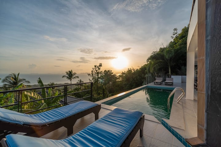 Panoramic Sunset Villa 3BR & Private Pool
