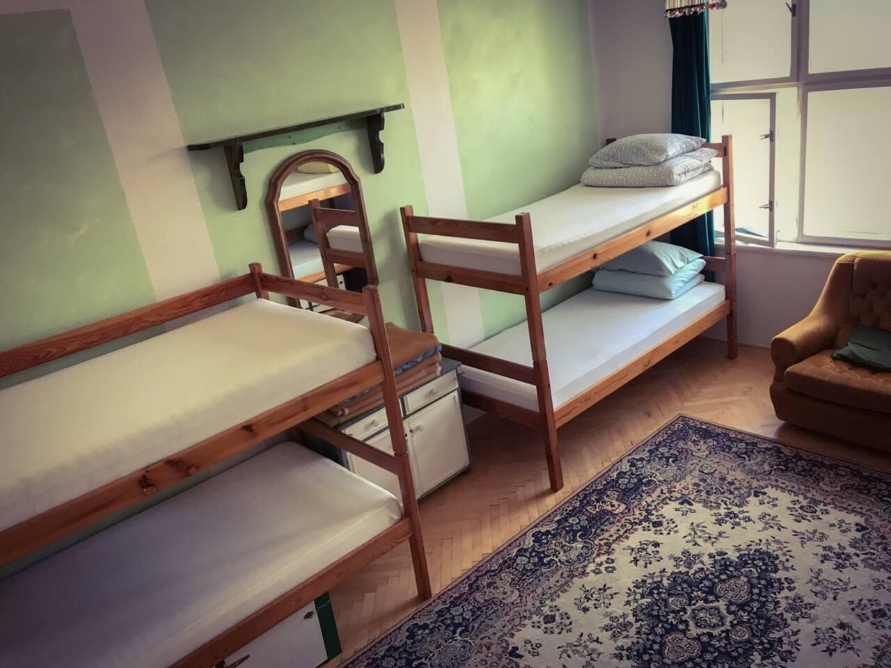 The Green Dorm on the 4th floor can sleep 8.