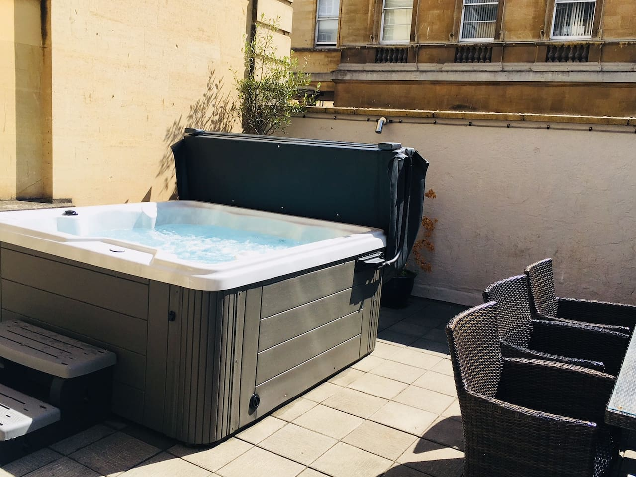 Our outdoor hot tub on our Private courtyard, ready for exclusive use.