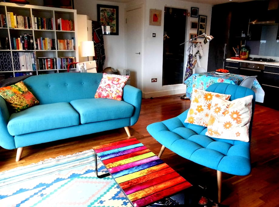 Another one of the sitting room...turquoise is my current favorite color!