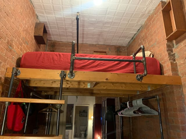 Full sized lofted bed