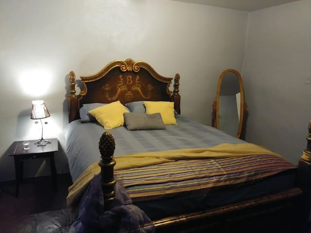 The Lavender Room offers you exceptional sleep on this firm yet pillowtop mattress and cozy sheets.