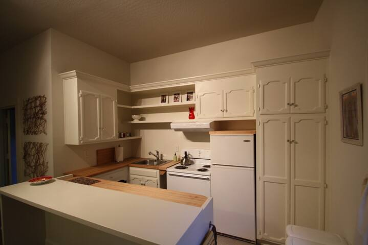 Kitchen w/ stove oven microwave toaster oven refrigerator pantry dishes pots pans cleaning supplies
