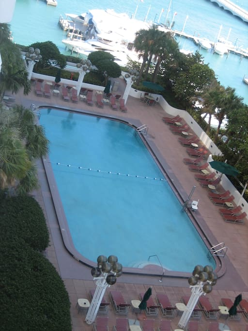 very large heated pool and fun sun deck on the 10th floor.