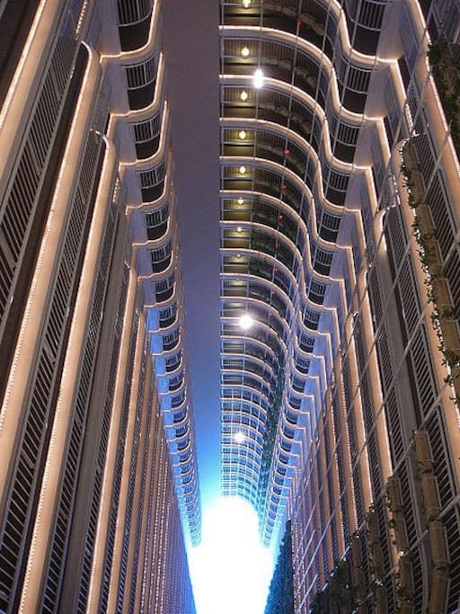 The Grand is made of 2 beautiful atriums and a retail center as well as the Double Tree Hilton is on the first 10 floors.