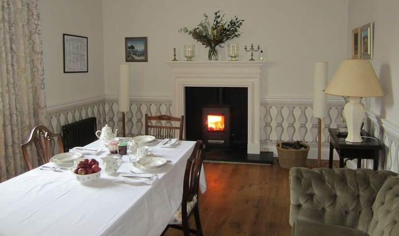 Breakfasts in our dining room include home grown fruits, jams, marmalade, honey, bread, pastries, full english or continental