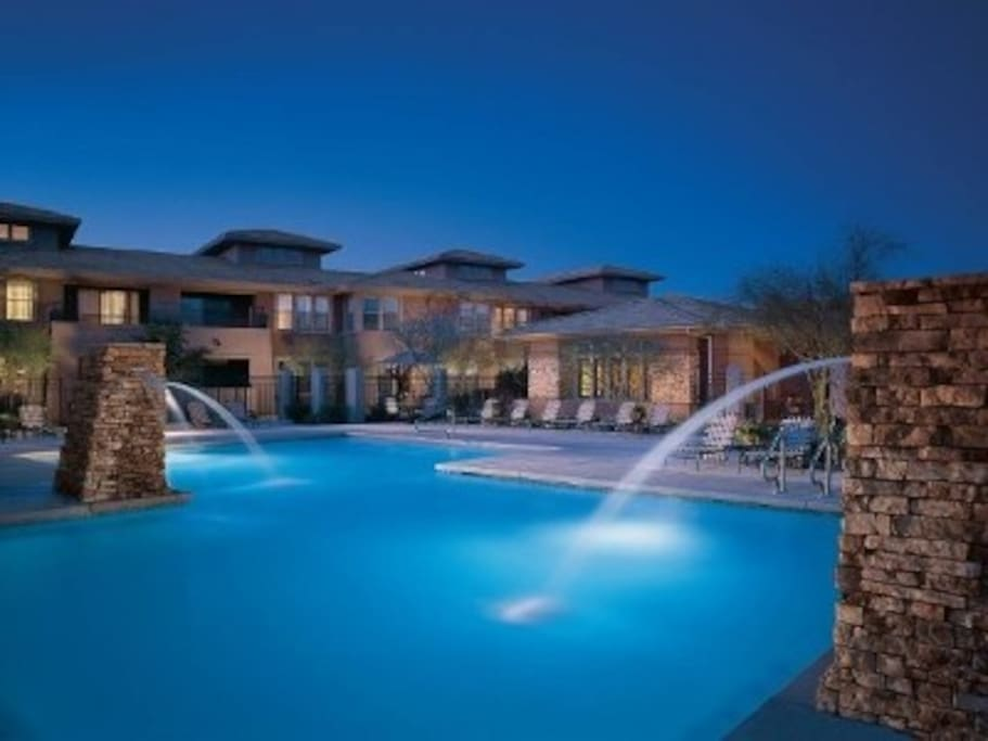 The beautiful clubhouse pool at night