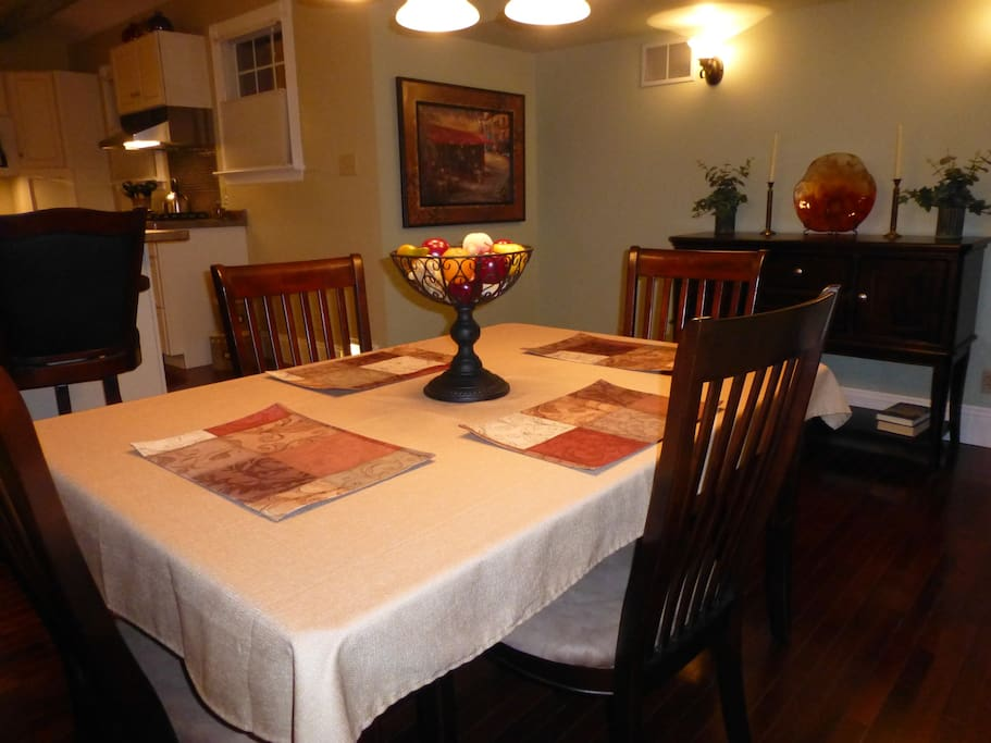Dining room with comfortable seating for four