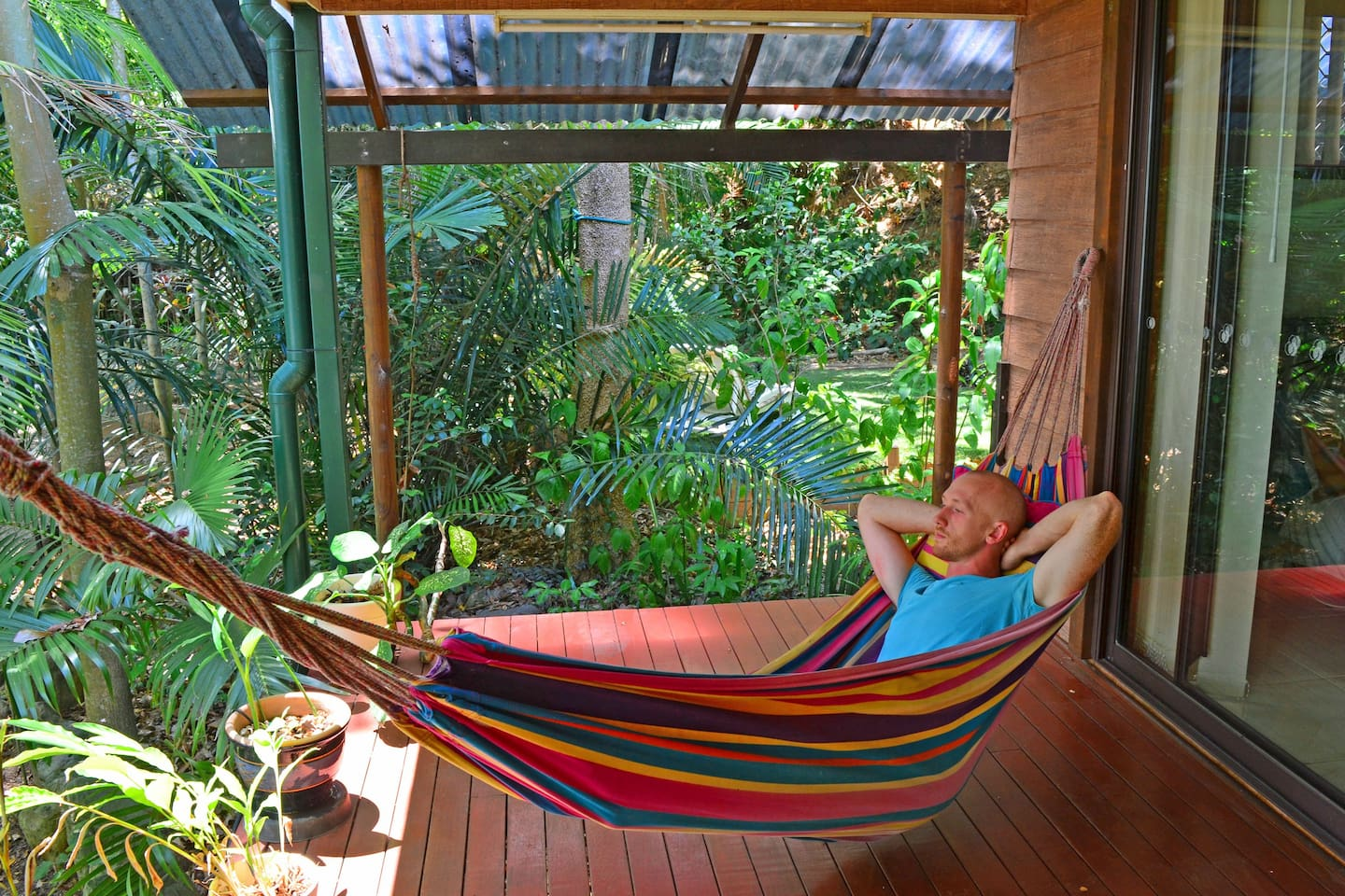 Guest enjoys relaxing on the hammock