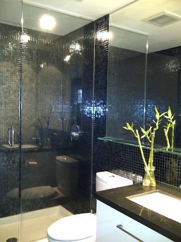 Stone vanity top, full width mirror, floor to ceiling glass screen shower.