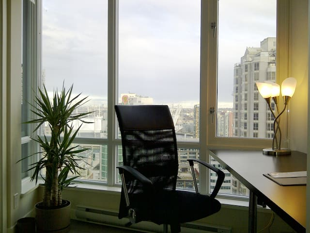 Private office den. Internet ready Wi-fi. Wall to wall window with panaromic view to the east.