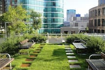 22.  Roof garden at level - 7, accesible fron lounge. Small children play area behind the corner.
