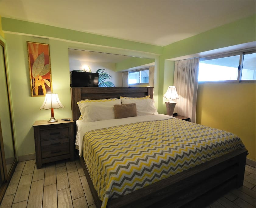 Large King Bed, Flat Screen TV, actual 1 bdrm with a door for privacy.