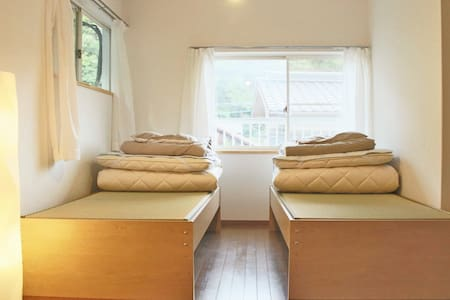 Large Twin Bed Room - Beds with Tatami(straw) mats