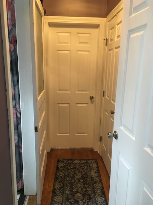 Guest bath to left, room straight ahead and linen closet to right.