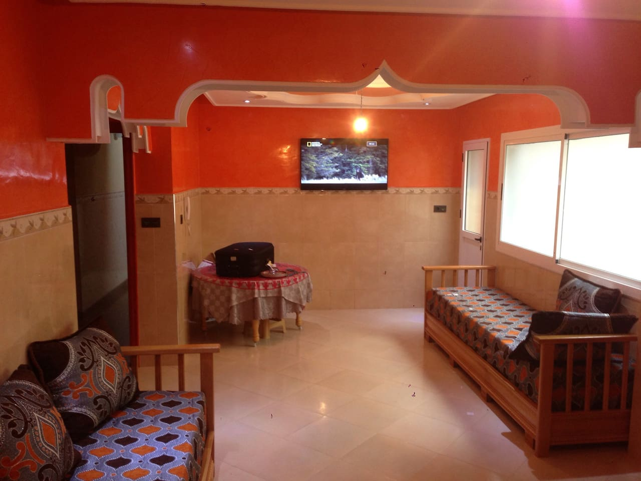Large living room with satelite TV