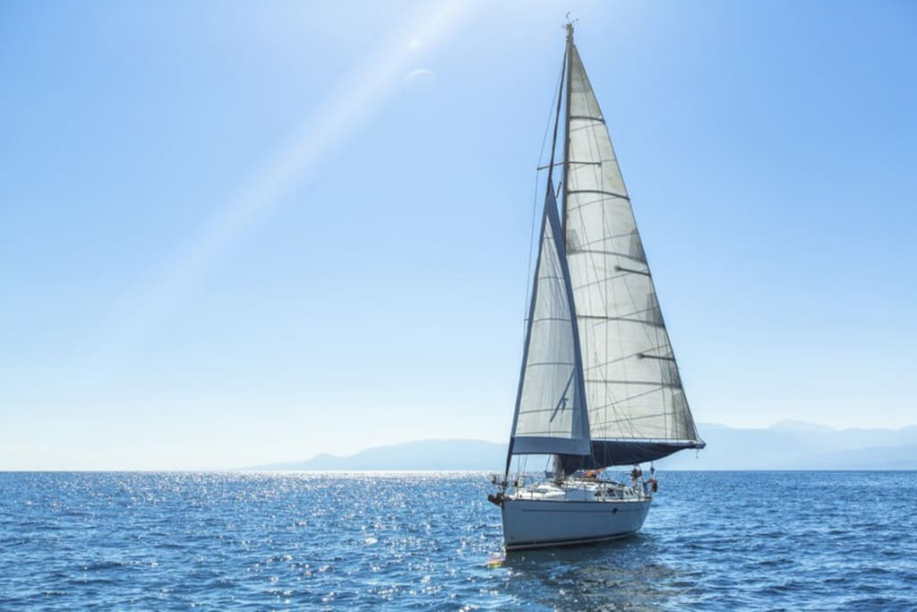 Our sails gets us around, we also have another small boat to land on the beaches, go snorkeling etc.