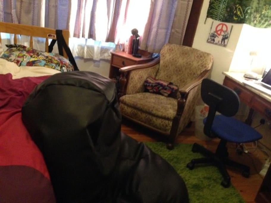 Bean bag, chair, desk