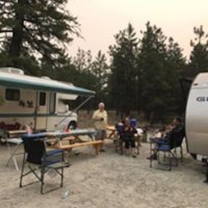 Campers enjoying the double site