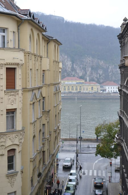 Our balcony overlooking the Danube and Gellért hill.