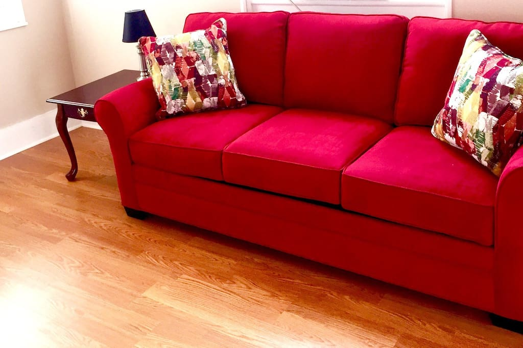 The sofa pulls out into a Queen bed