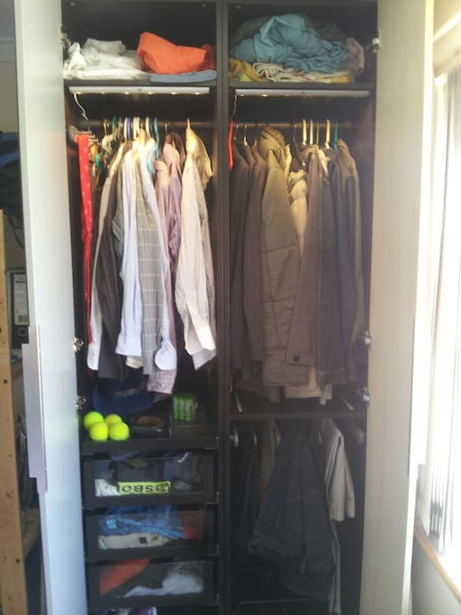 Plenty of room for 2 with draws and hangers on the lit wardrobe