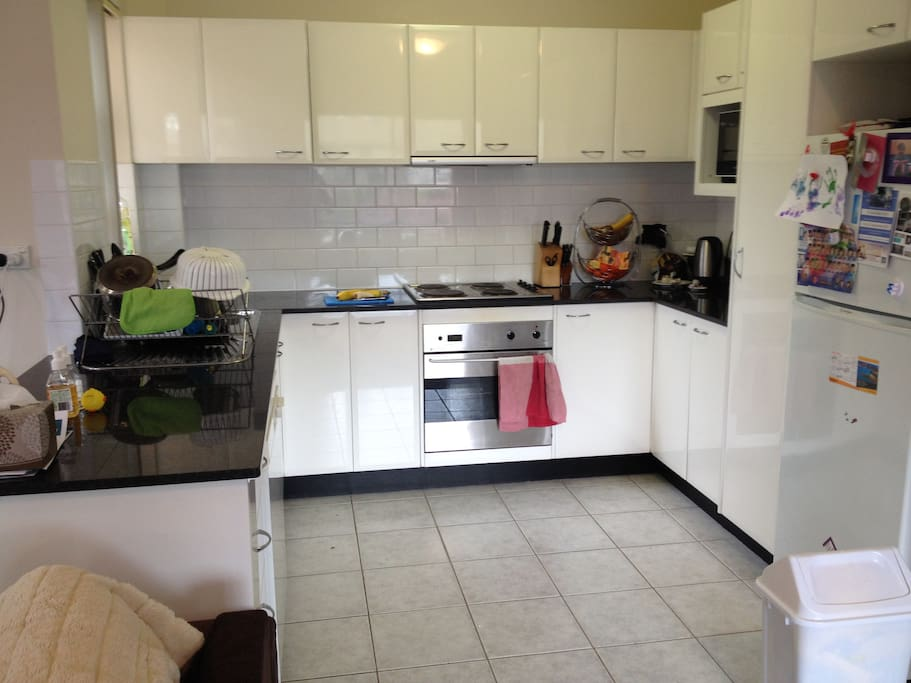 Open plan kitchen with dishwasher and electric cooktop and oven.