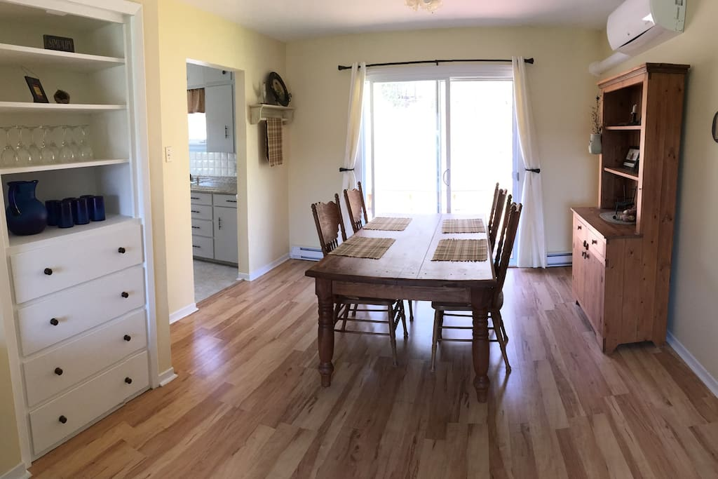 dining room with back deck access