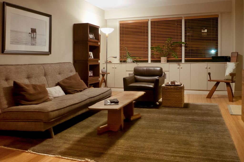 Spacious living space has Wi-Fi; Stereo System and Apple TV