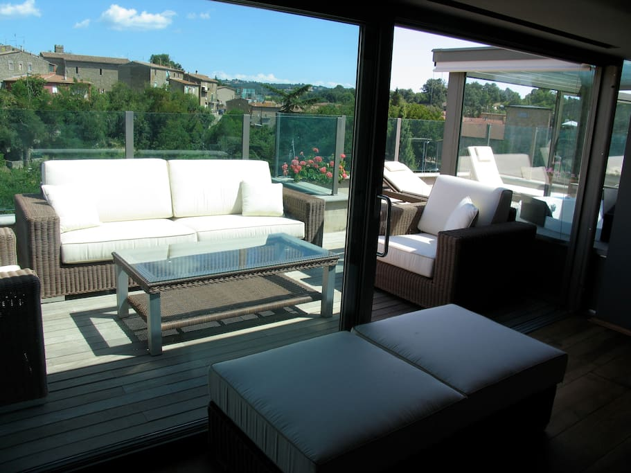 View from the top terrace including window sliding doors