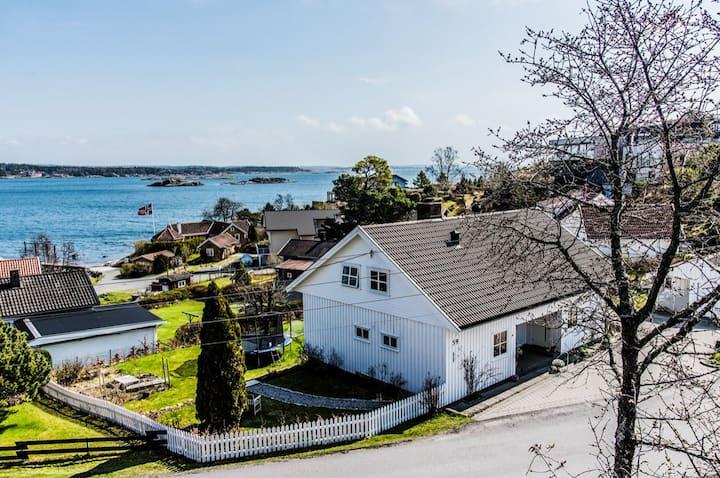 Sommerperle i Lahelle med brygge og båtplass