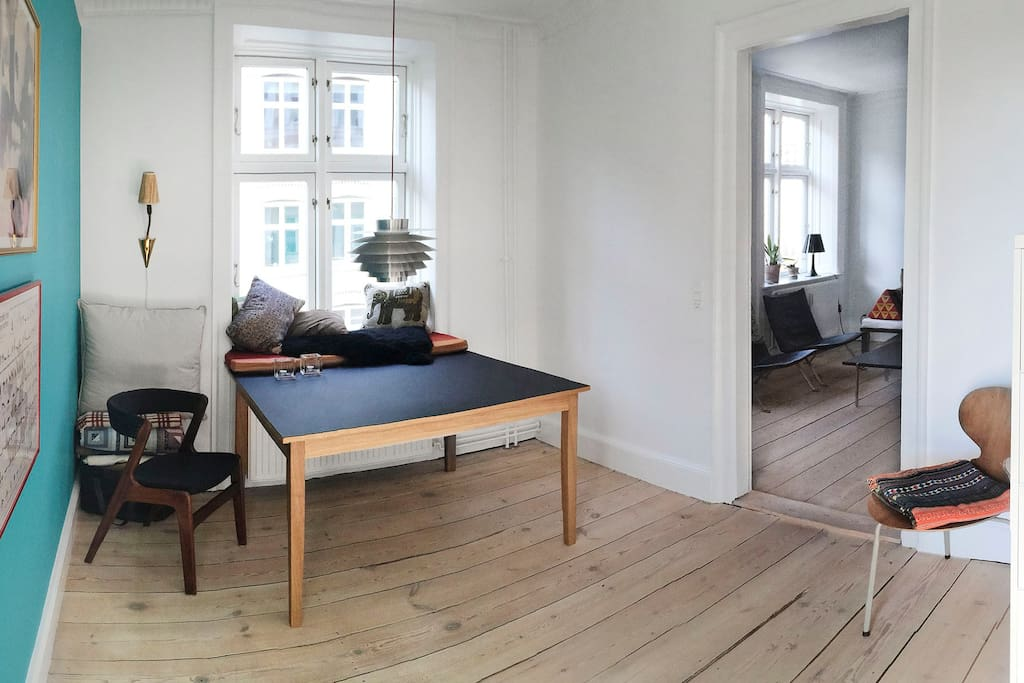 Dining room - there's now a bench against the white wall