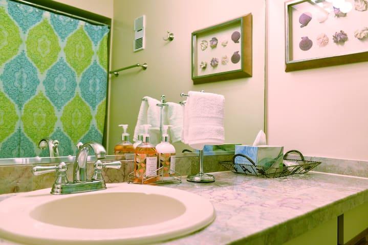 Bathroom with granite countertop