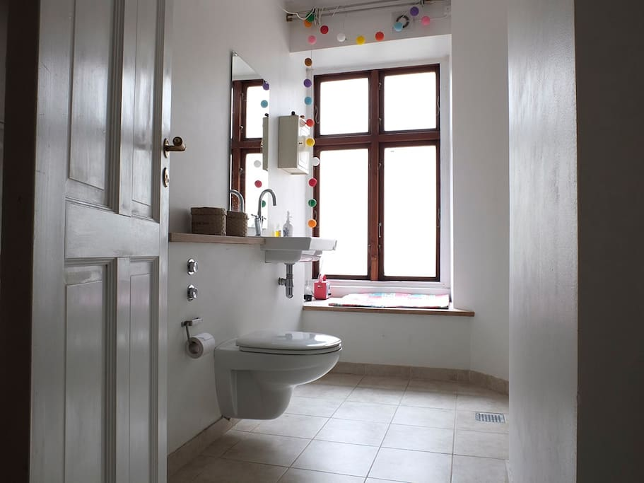 Big bathroom, with shower and toilet.